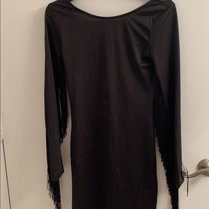 H&M black tasseled arm dress